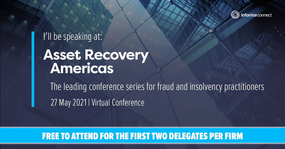 Alex Moglia, of Moglia Advisors, will be speaking at the Asset Recovery Americas Virtual Conference on Thursday, May 27, 2021.